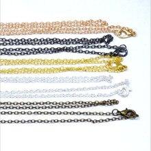 10 unids/lote de collar con cadenas cruzadas de 60cm de longitud, cierre de langosta, cadena de eslabones de Metal, collar DIY, hallazgos de joyería, oro rosa, plata, negro