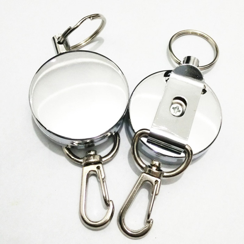 New Retractable Pull Key Ring ID Badge Lanyard Name Tag Card Holder Recoil Reel Belt Clip Metal Housing Metal Covers