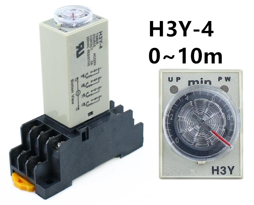 H3Y-4 0-10M a tiempo relé de retardo de tiempo DPDT 14 pines H3Y-4 DC12V DC24V AC110V AC220V