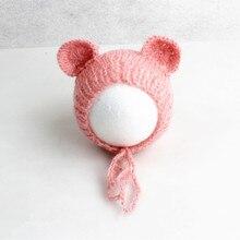 Gorro de bebé hecho a mano Mohair mullido Crochet oso de peluche sombrero gorro foto Prop recién nacido accesorios de fotografía