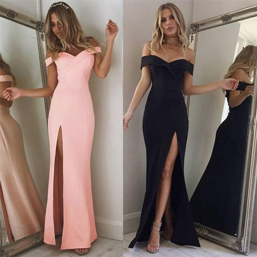 New Style Women's Dress Off Shoulder Sleeveless Cocktail Split Fork Lrregular Dress Sexy Fashion Hot Sales Dresses Wolovey#25