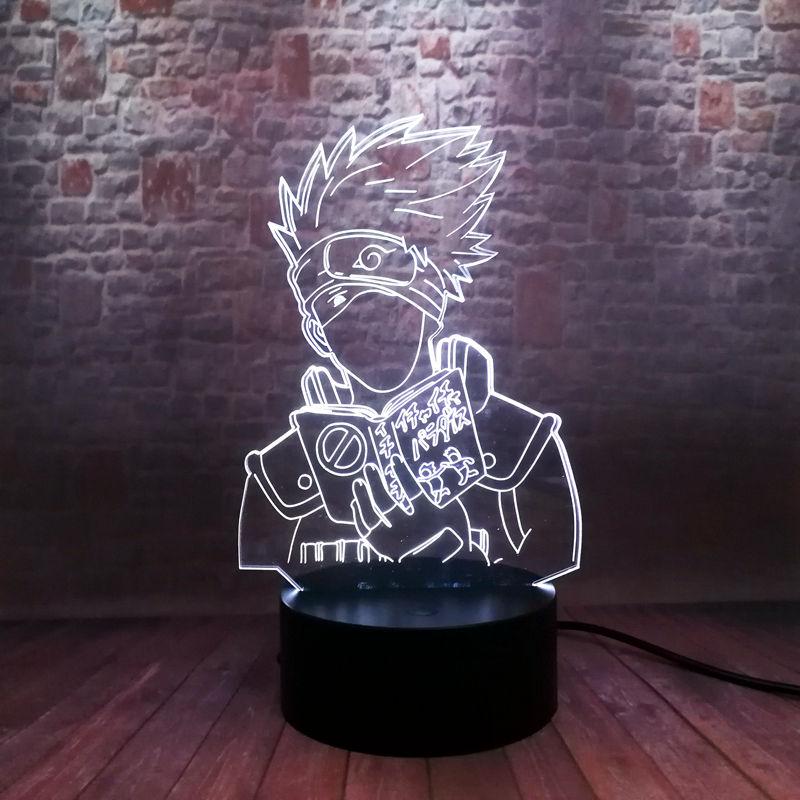 Flash Naruto Hatake Kakashi Anime figura 3D ilusión LED luz de noche de escritorio intermitente de Japón Manga Kakashi Figuras Juguetes