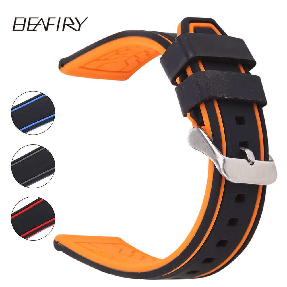 BEAFIRY Soft Silicone Rubber Watch Band Strap20 22 24 26mm Waterproof Watchband black grey black orange black blue black red