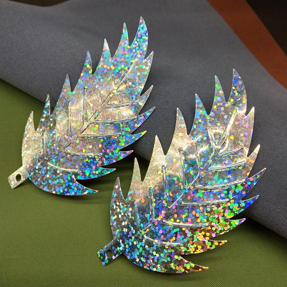 LNHOME 50 Uds 90*46mm láser plata hoja grande lentejuelas para artesanías accesorios de costura DIY ropa