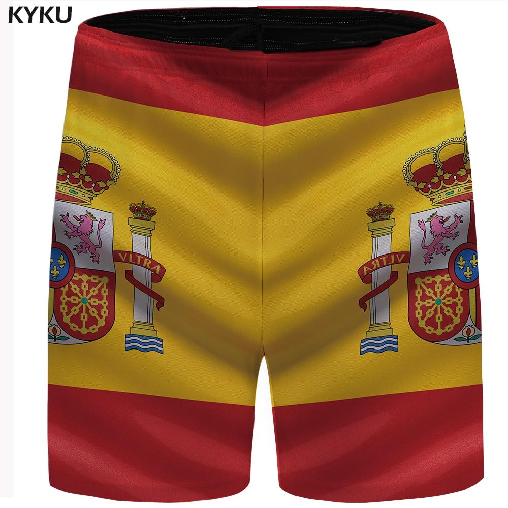 Marca kyku España pantalones cortos hombres bandera colorida Casual pantalones cortos Hip Hop culturismo pantalones cortos de hombre verano alta calidad 2018 nuevo
