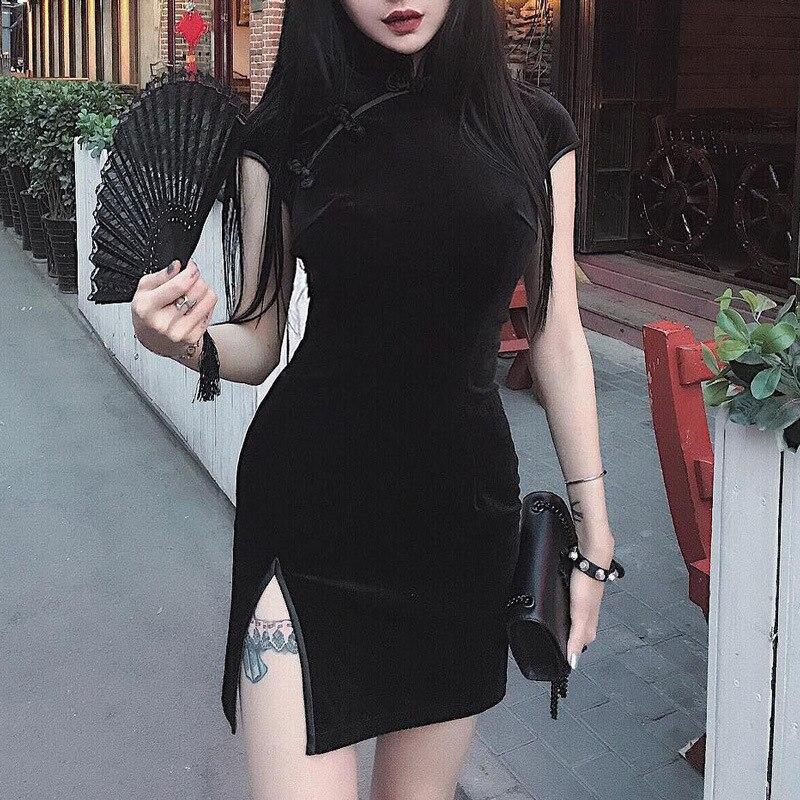Женское бархатное платье-Ципао с коротким рукавом и высоким разрезом