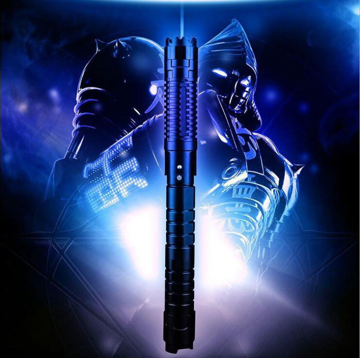 De alta potencia poder militar más poderosa azul láser puntero 450nm 500000 m puede centrarse quemar encuentro vela luz cigarrillo