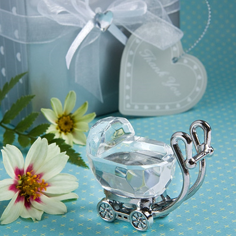Lote de 12 unidades de regalos personalizados para Baby Shower para niña y niño, carro de cristal del bebé, recuerdos de bautizo, regalos para fiesta de cumpleaños