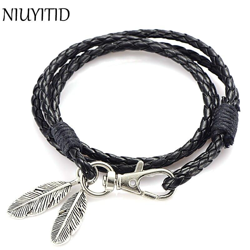 Niuyitid preto couro do plutônio dos homens pulseira de prata cor pena acessórios moda jóias homem pulseira para pulseira masculino charme