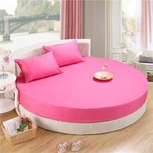 3 piezas de cama redonda Circular sábana 100% sábanas de algodón con cama de goma elástica juego de colchón funda de almohada amarilla rosa