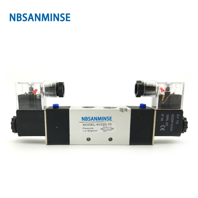 pneumatic solenoid valves 4v310 4v330 air exhaust manifold 300m valve plate base manifold with accessories 4V310 4V320 4V330 Air Solenoid Valve G1/4 G3/8  Electromagnetic Valve AirTac Type Pneumatic Valve NBSANMINSE