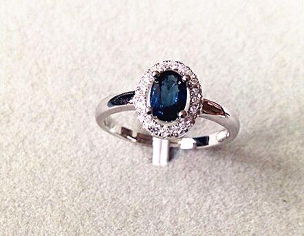 Anillo de GEMA de zafiro azul oscuro Natural, anillo de piedras preciosas naturales, Plata de Ley 925 de moda, joyería de oficina simple y redonda para mujer