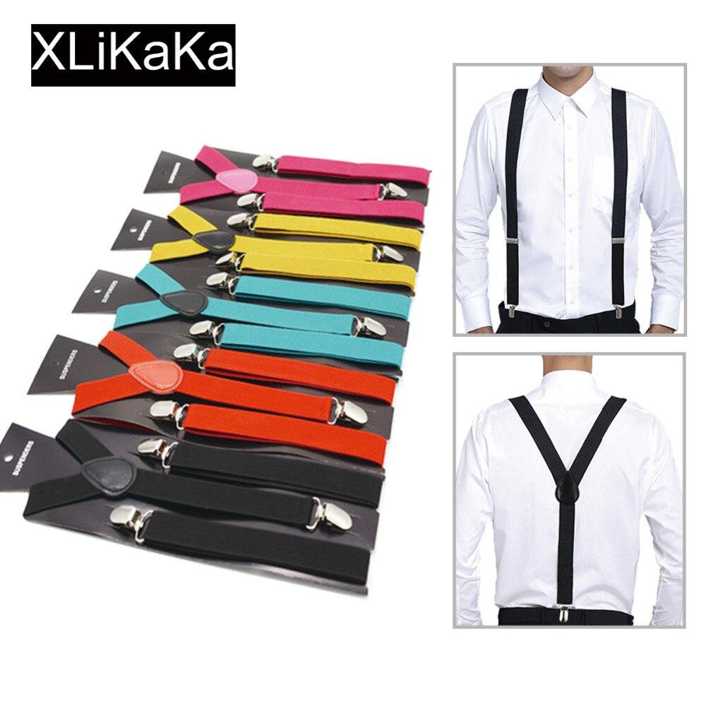 Mais cor para escolher novas mulheres masculinas unissex clip-on suspensórios elásticos y-forma ajustável suspensórios com 3 clipes