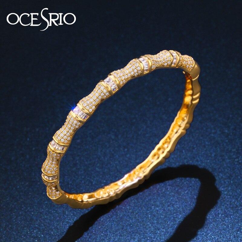 OCESRIO Neue Luxus Marke Bambus festival Frauen Gold Armreifen Kupfer Zirkonia Gold Armbänder Schmuck 2020 brt-b01