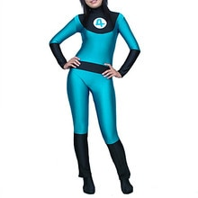 Fantastique quatre Sue tempête noir et bleu Zentai Cosplay Costume