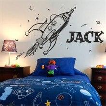 Autocollants muraux en vinyle   Autocollant rétro fusée planètes pour enfants chambre à coucher, autocollants Art vinyle, nom personnalisé, autocollant mural