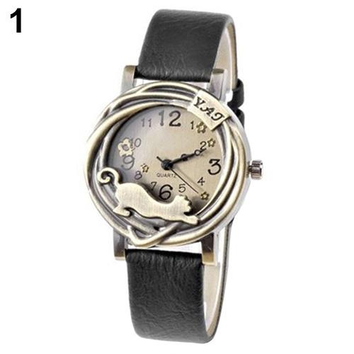 montre femme Women Vintage Jewelry Cat Flower Case Faux Leather Band Quartz Analog Wrist Watch reloj mujer ladies watch