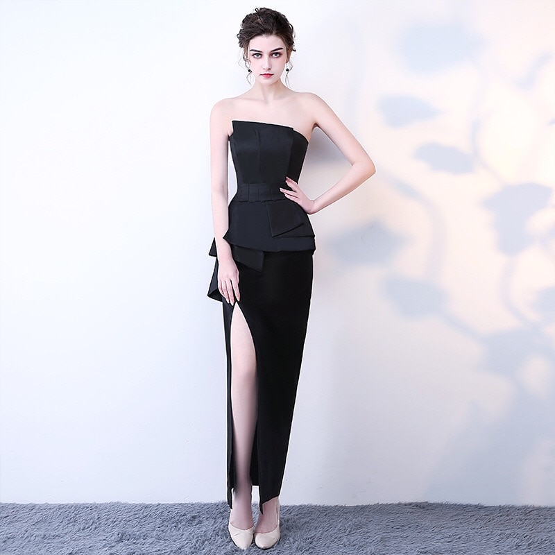D092 high quality elegant side split black strapless peplum maxi dress
