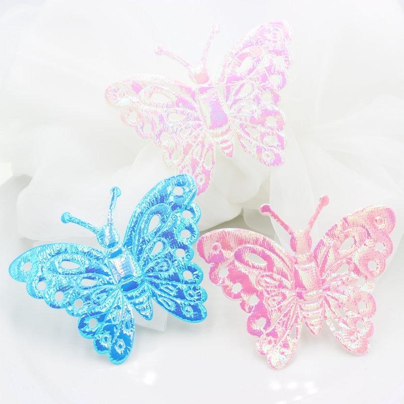 Set of 100pcs Large rainbow AB iridescent butterfly shape fabric felt pack Satin applique patches 90x70mm Garment accessories