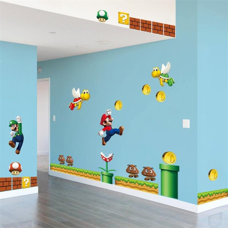 Винил, съемная Наклейка на стену, декоры для дома, гигантские большие братья Супер Марио, дети, съемное настенное окно, наклейка для домашнег...