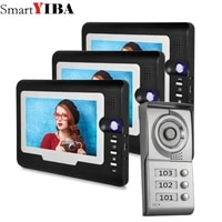 smartyiba apartment intercom entry system 3 monitors wired 7 color video door phone video intercom system for 3 house