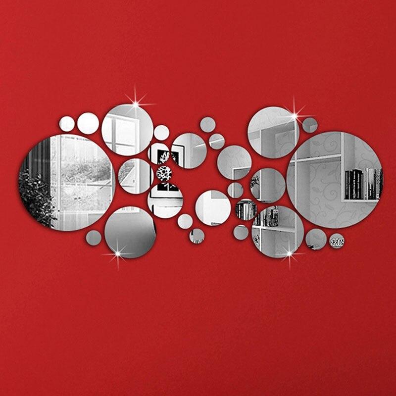 30 шт. 3D зеркала на стене DIY Серебряная зеркальная Настенная Наклейка художественная наклейка зеркальные настенные наклейки для спальни гостиной зеркальные наклейки