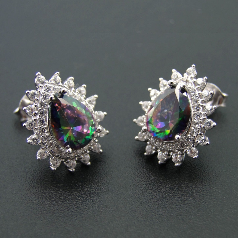925 Sterling Silver Jewelry Rainbow Pear Shape Mystic Topaz Stud Earrings for Women Jewelry Wedding Gift Birthday Party Jewelry