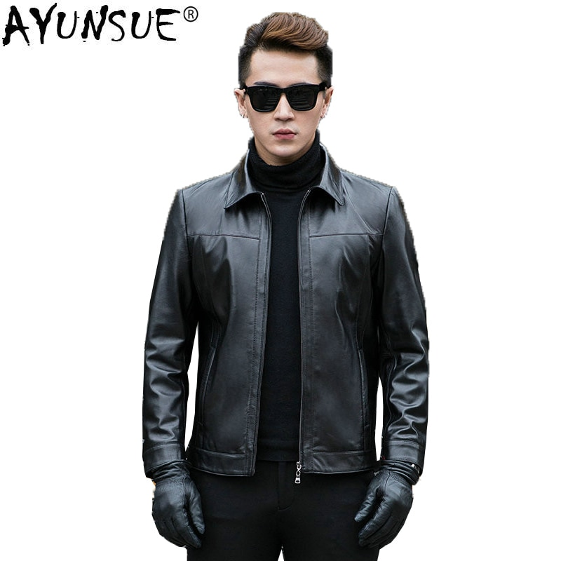 AYUNSUE Genuine Leather Jacket Men Short Spring Autumn Mens Sheepskin Coat Slim Men Leather Jackets and Coats CJX801A KJ1108