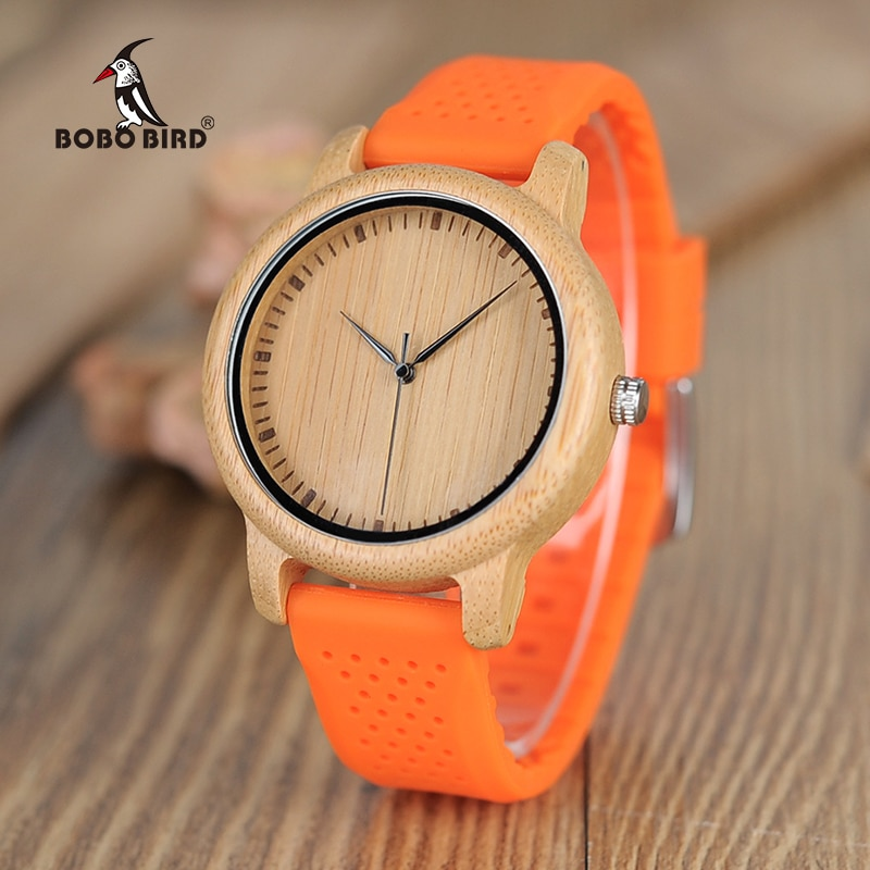 BOBO BIRD Ladies Watches Women Colorful Silicone Strap Simple Wooden Quartz Wristwatch Female Dial relogio femino Chirstmas Gift enlarge