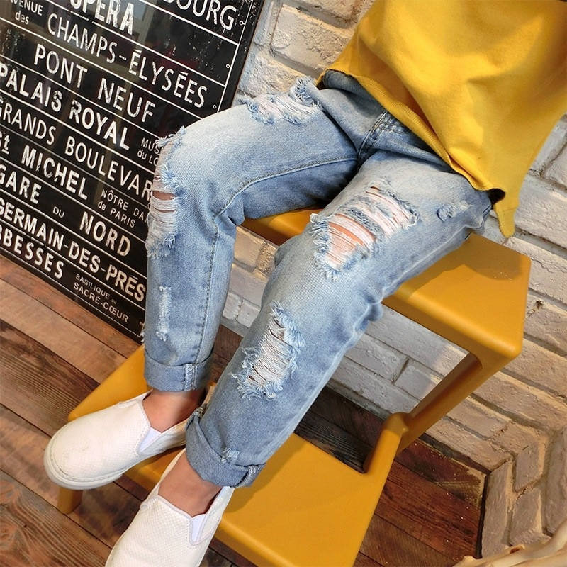 Pantalones vaqueros rasgados para niños 2019, nuevos pantalones vaqueros rotos de primavera para niños y niñas, 3-10T DWQ056