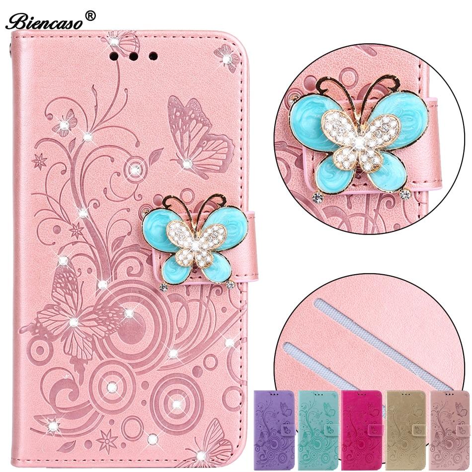 Butterfly Jewelled Stand Case For Huawei Mate 20 lite Honor 10 9 8 Nova 3 3i 3e 4E P smart 2019 Plus Glitter Cover P8 Lite 2017