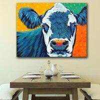 Peinture a lhuile sur toile avec Animal Country  vache I  decoration pour la maison  tableau dart mural