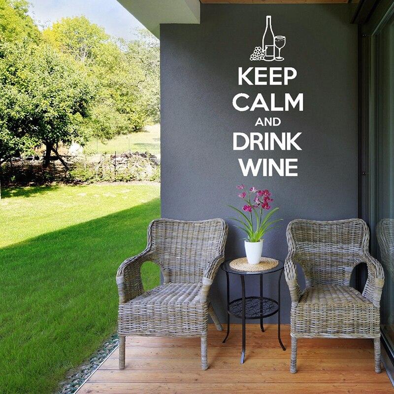 Mantener la calma y beber vino pegatina de pared con citas arte extraíble calcomanías de paredes de cocina Diseño de la barra de ventana de decoración señal L772