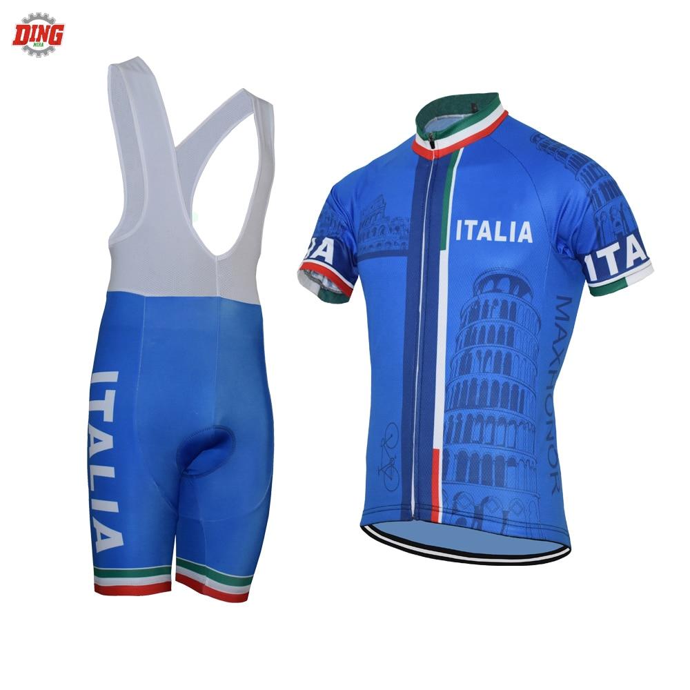 Nueva ITALIA equipo ciclismo jersey set hombres de manga corta pro bike wear jersey set bib shorts Gel Pad azul ciclismo ropa
