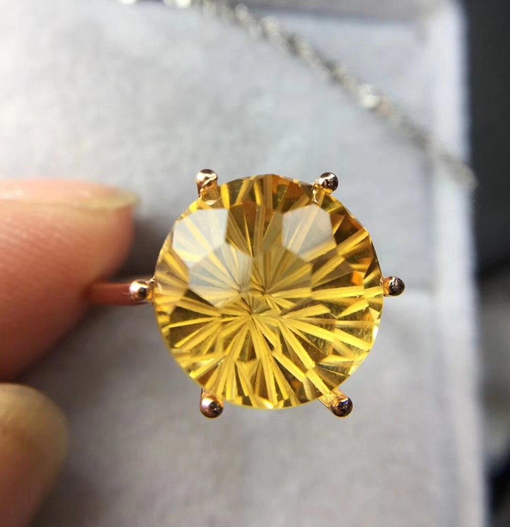 Classique élégant rond naturel feux dartifice jaune cristal gemme anneau S925 argent naturel citrine anneau femmes fête cadeau bijoux