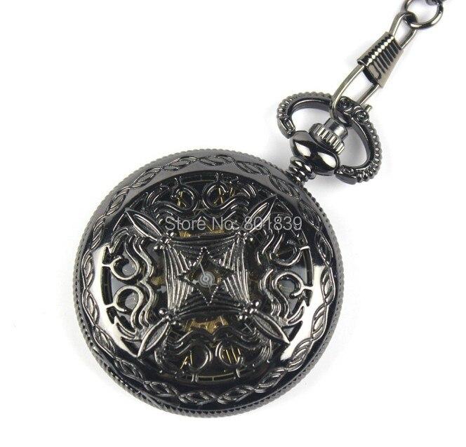 Reloj Steampunk esqueleto masculino reloj mecánico cuerda a mano clásico negro Retro Vintage regalo colgante reloj de bolsillo H175