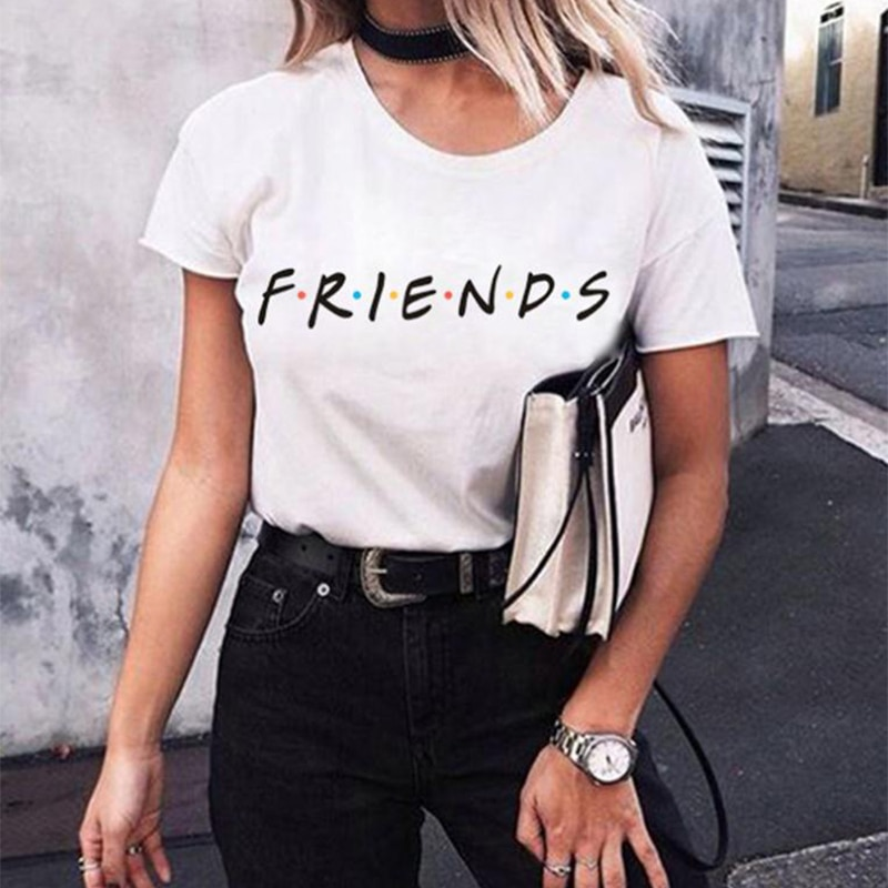 Camiseta con letras de amigos, camiseta Casual divertida para mujer, camiseta para chica, camiseta Hipster, triangulación de envíos