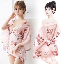 2019 nouveau chaud japon Style sexe femmes Kimono 1 ensemble Costumes exotiques Sakura Muti couleurs Mujer pyjama taille unique Sexy tir Robe NY0268