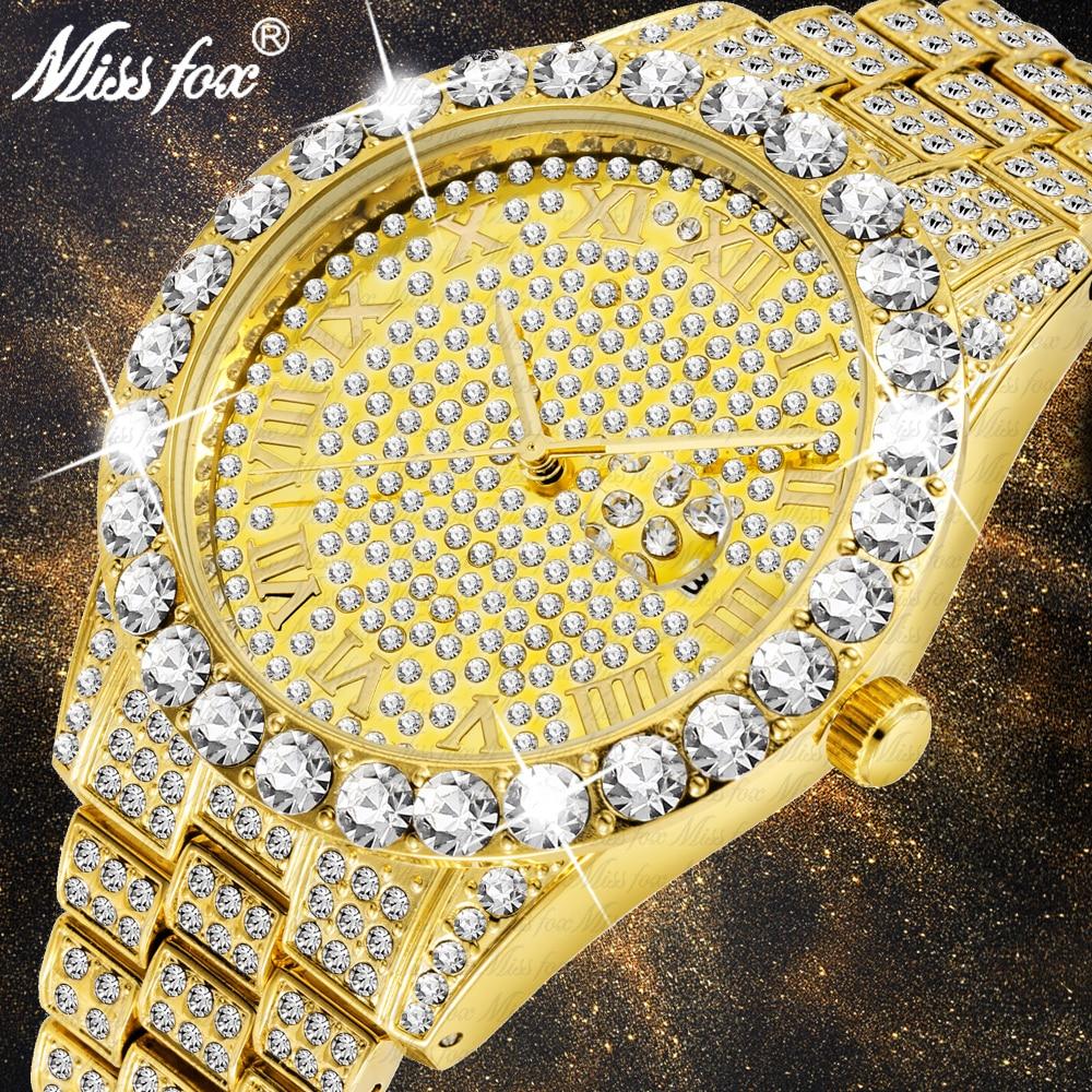 MISSFOX-ساعة فاخرة للرجال ، كرونوغراف ذهبي ، سوار ألماس كبير ، مع صندوق هدايا ، 2020