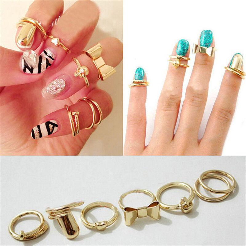 Кольцо в стиле панк, 7 шт./компл., кольцо с бантом и сердечком, кольцо золотого цвета