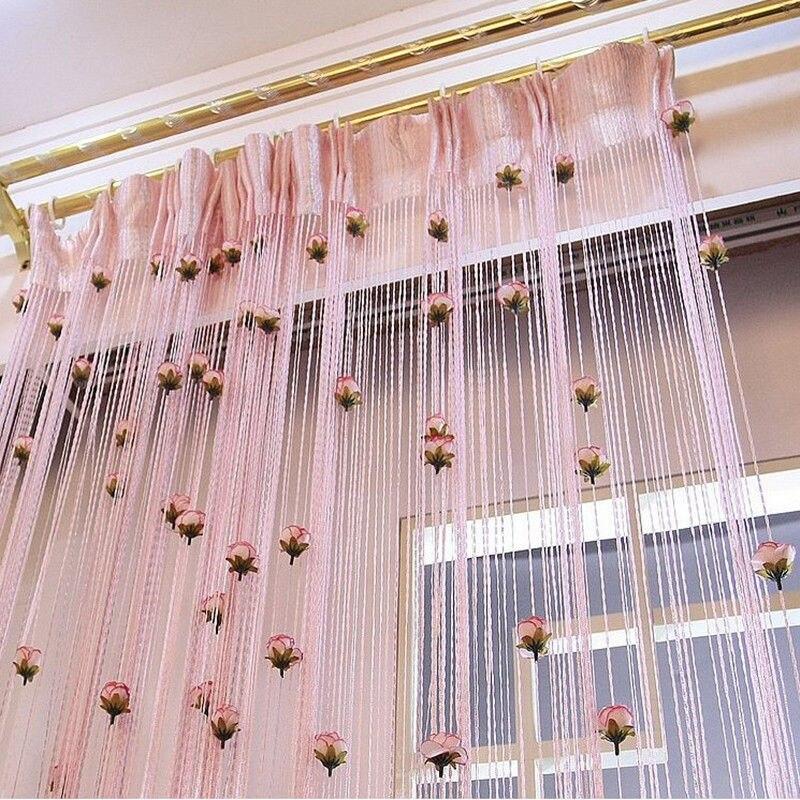 Blume Rose Romantische Pastoralen Linie Vorhang Wohnzimmer Teiler Fadenvorhänge Shop Dekoration