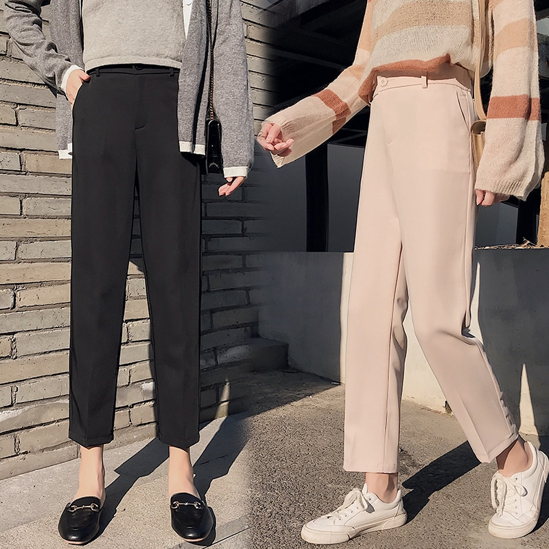 Black Suit Pants Women Office Lady Casual Korean Fashion Straight Loose Harem Pants Harajuku Streetwear Pantalon Femme Trousers