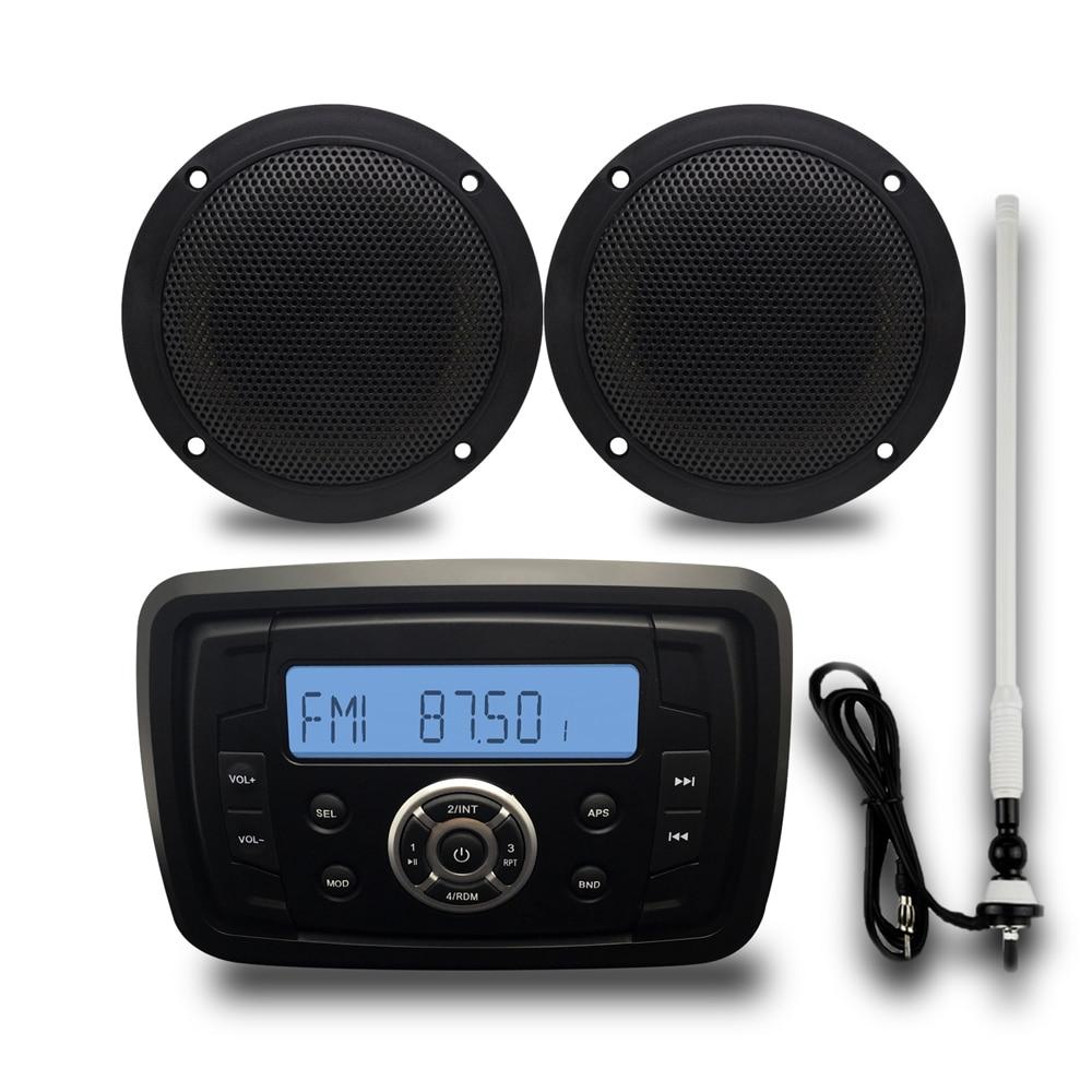 """Морской Стерео лодка Bluetoth аудио автомобильный радиоприемник Водонепроницаемая звуковая система USB MP3 FM AM 4 """"Морской динамик с радио антенной"""