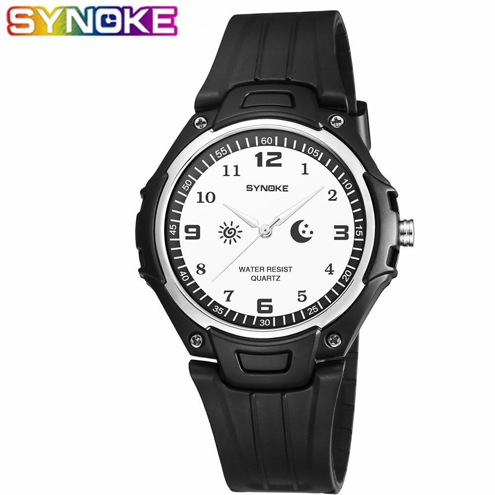 SYNOKE relojes de cuarzo a la moda para hombre, reloj de pulsera Simple resistente al agua, reloj de pulsera de esfera redonda, reloj de cuarzo para hombre