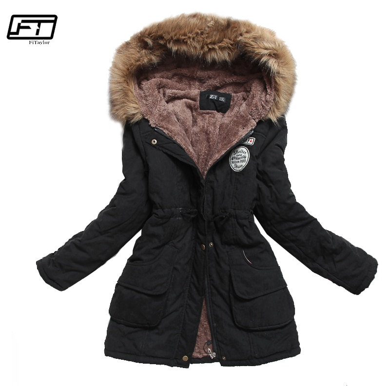 Fitaylor Winter Jacket Women Thick Warm Hooded Parka Mujer Cotton Padded Coat Long Paragraph Plus Size 3xl Slim Jacket Female winter jacket women thick warm hooded fur parka cotton padded coat long outwear plus size 3xl slim jacket female