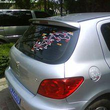 Apto para peugeot 307 spoiler 2006 2007 2008 2009 2010, estilização de carro, plástico abs, primer não pintado, cor traseira projetor de asa