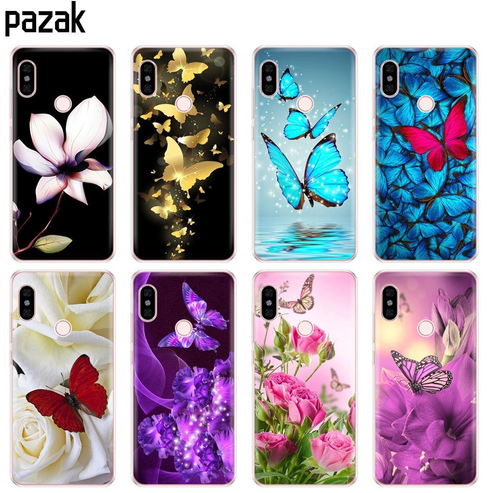 Capa de Silicone Caixa do telefone para Xiaomi redmi S2 Y2 6 5 2 3 3 s pro PLUS redmi note 4 4X 4A 5A 6A borboleta colorida flor coque