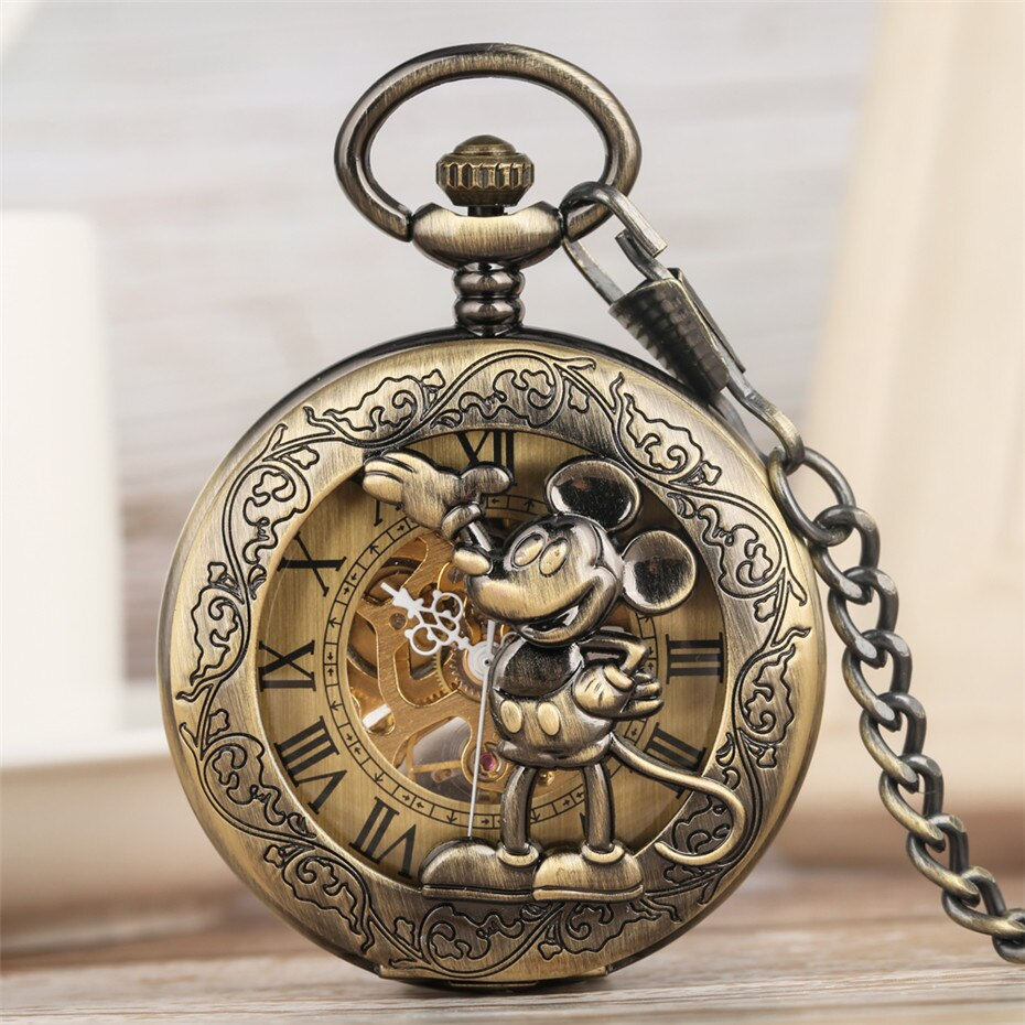 Reloj de bolsillo de cuerda a mano mecánico con pantalla Retro clásica de Mickey Mouse reloj colgante de bronce reloj de Número Romano Dial nuevo 2019