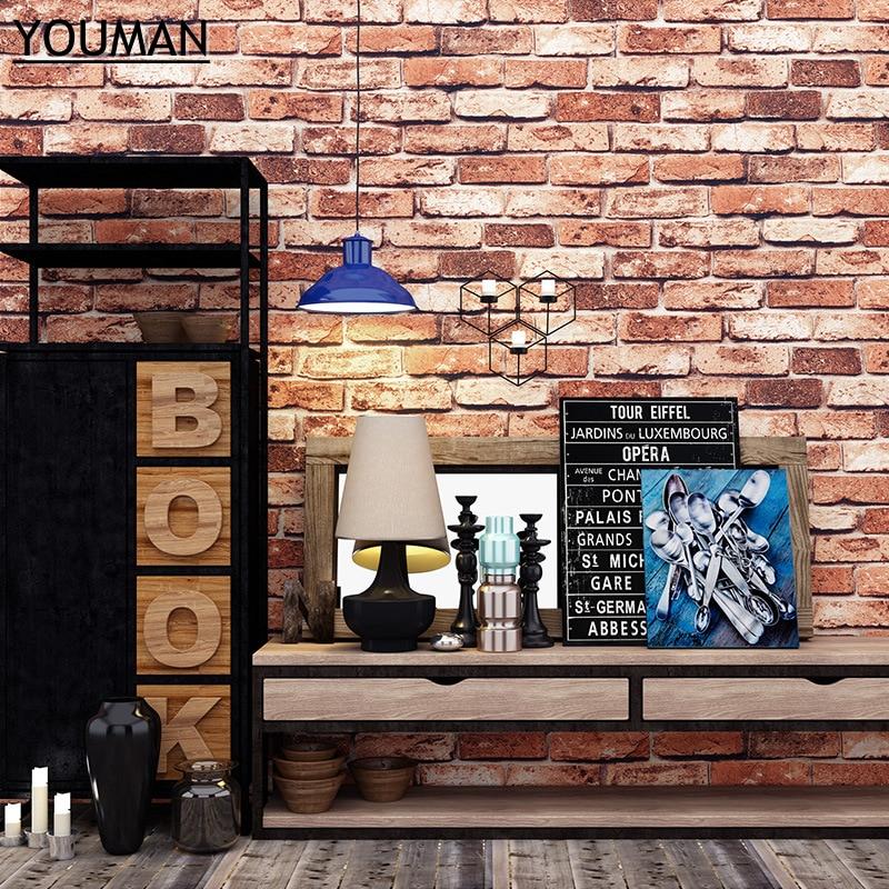 Papel tapiz YOUMAN 3d, papel tapiz de ladrillo, revestimientos de pared de ladrillo, papel tapiz para dormitorio, pared 3d, vinilo, fondos de escritorio, arte para decoración del hogar
