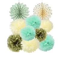 10pcsset paper decorations set tissue paper fans pom poms for wedding birthday party nursery baby showers garden space decor